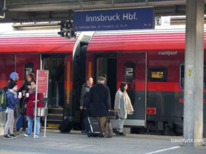 Trains from Innsbruck: A Railjet from the Austrian Railways gets ready to leave.