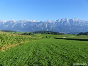 Farmland between Rinn and Tulfes in Tirol.