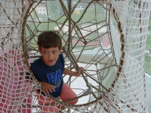 Climbing ropes in the playtower at Swarovski Crystal Worlds.