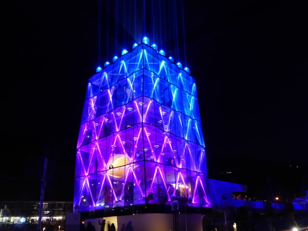 Swarovski Playtower in blue light.