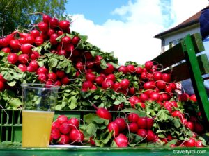 Radishes on trailer at radish festival in Hall in Tirol.