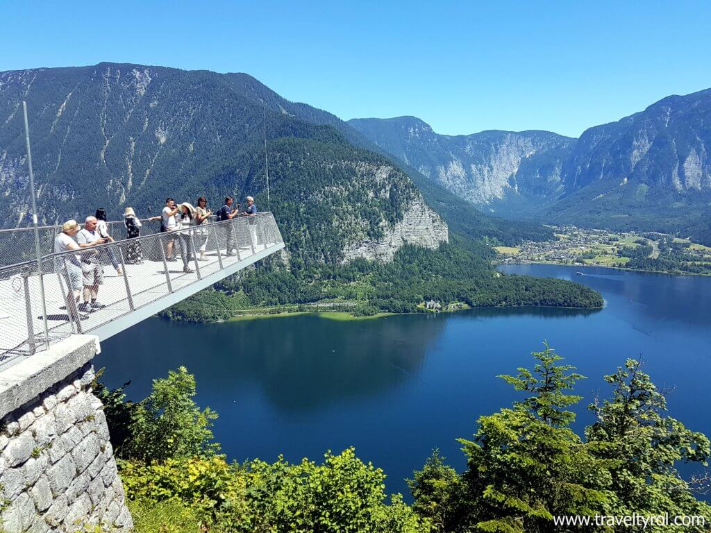 View from the Hallstatt skywalk on a daytrip from Salzburg to Hallstatt.