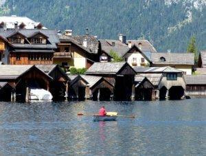 Boat rental on Lake Hallstatt.