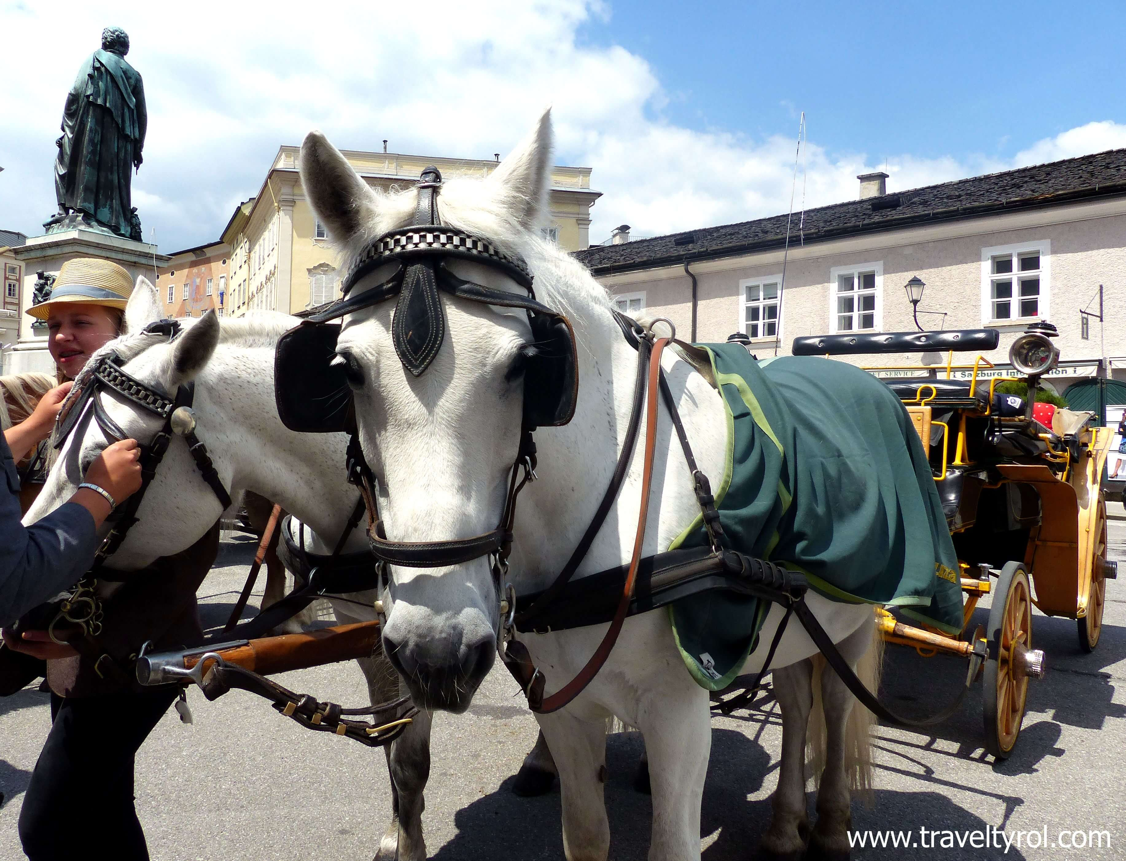 The tourist information office where you buy the Salzburg Card is on Mozart Square where the horse carriages depart from.
