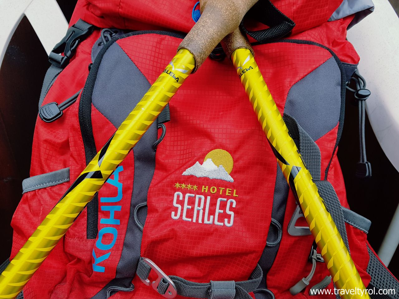 Hiking poles and rucksack from Hotel Serles
