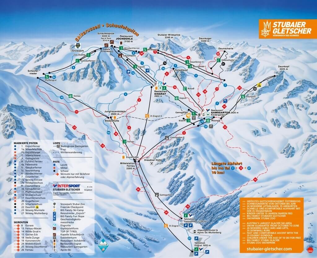 Map of the Stubai gletscher ski resort.