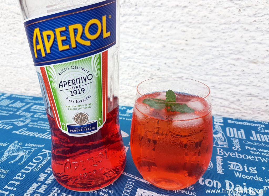 Aperol Spritz in a stemless Riedel wine glass from Austria.