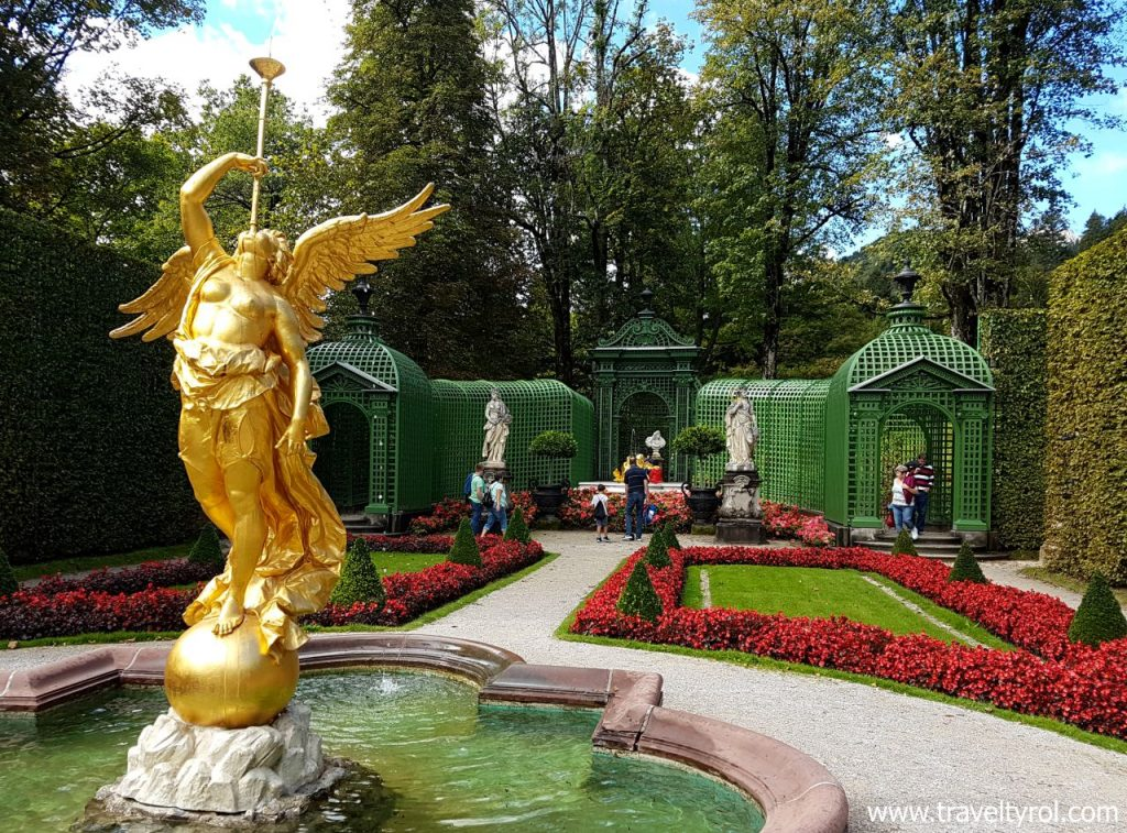 Decorative garden at Linderhof Palace.