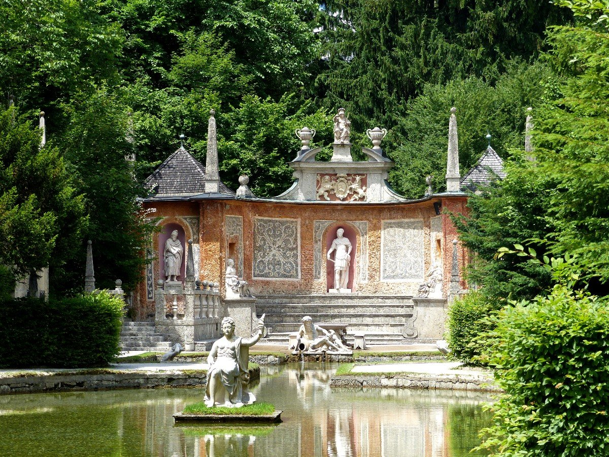 The trick fountains at Hellbrunn Palace in Salzburg.
