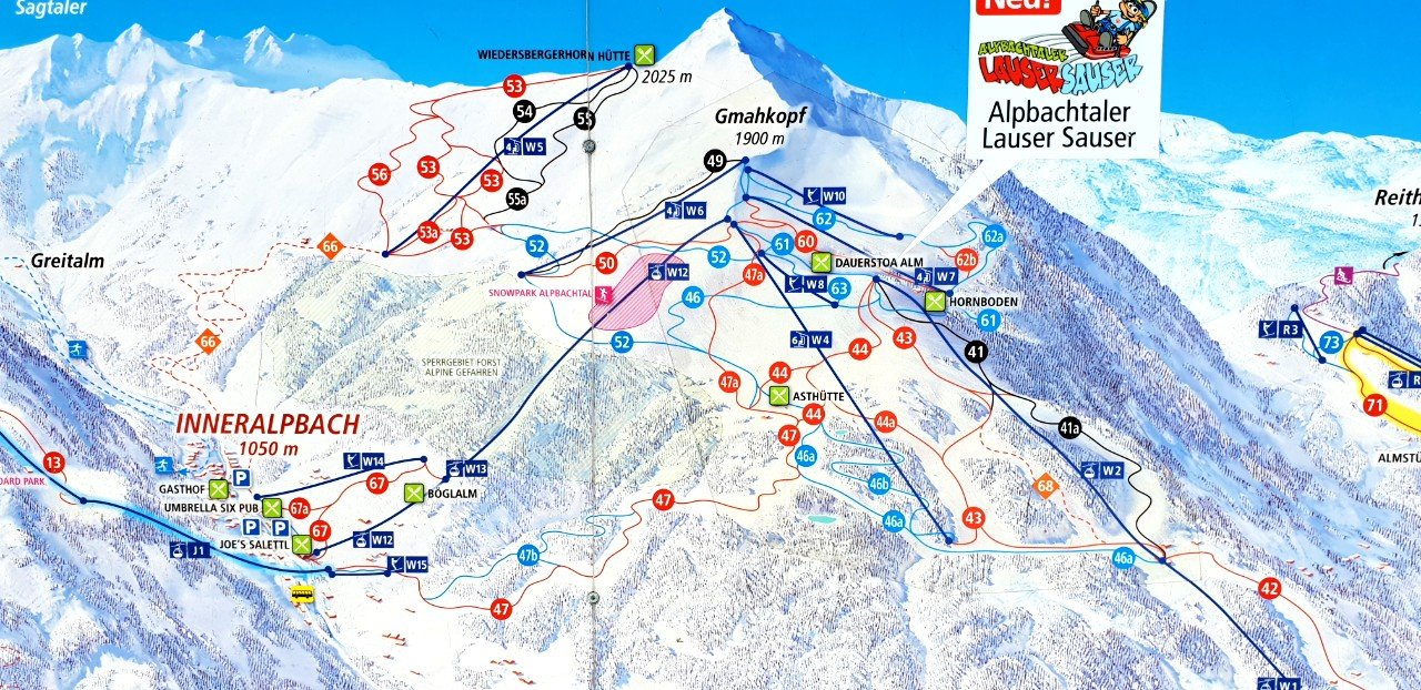 Alpbach piste map © Travel Tyrol.