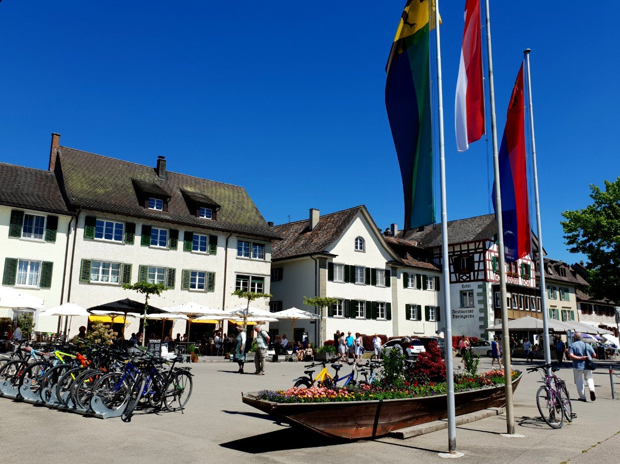 Riverfront area in Stein am Rhein.