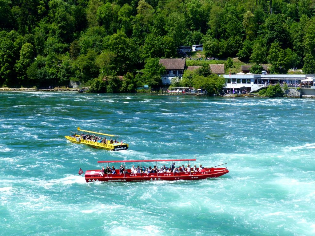 Boats in the Rhine Falls basin.