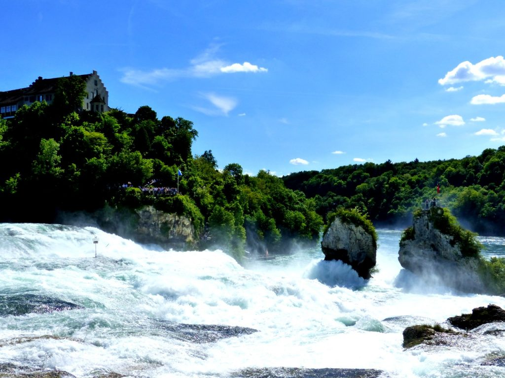 Rhine Falls and Laufen Castle in the background.