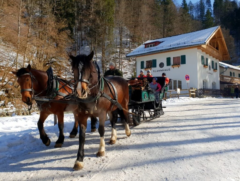 Horse carriage to Partnach Gorge.